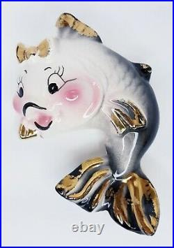 Vintage, 50s-60s DeForest Ceramic Jazzy Fish Wall Art withHeart Bubble Bath Decor