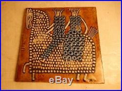 Vintage 60s GUSTAVSBERG Sweden Brutalist Ceramic Lisa Larson Art Horse Wall Tile