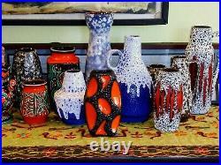 Vintage 70s ROTH KERAMIK Orange Vase West German Pottery Modern Fat Lava
