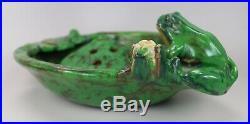 Vintage American Art Pottery Signed Weller Coppertone Bowl and Flower Frog