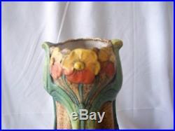 Vintage Art Nouveau Amphora Pottery Floriform Czech Vase