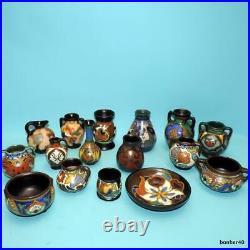 Vintage Arts-crafts Gouda Z-holland Dutch Folk Art Art Deco Collection 16 Vases