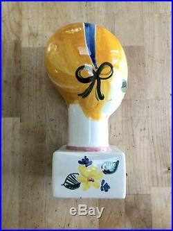 Vintage Ceramic Mannequin Head 1960s Mod Pop Art Quadrifoglio Florence Italy