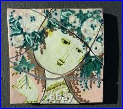 Vintage Danish Artist Bjorn Wiinblad Modern Mosaic Wall Art Tile Pottery Ceramic