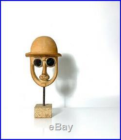 Vintage David Gill Pottery Ceramic Head Face Bust Sculpture Mid Century Modern