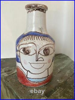 Vintage DeSimone Italian Art Pottery Mid Century modern vase Picasso 7 1/2