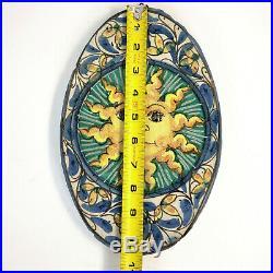 Vintage FRATANTONI Sun Burst Studio Art Ceramic Wall Plaque Oval Terra Cotta