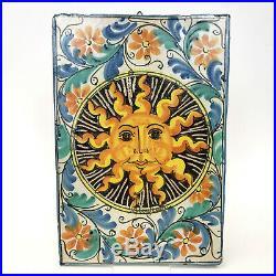 Vintage FRATANTONI for VIETRI Sun Burst Studio Art Ceramic Wall Plaque Tile Lg