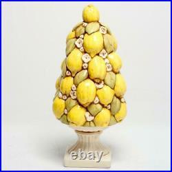 Vintage French Avenieris Majolica Lemon Tree Tower Ceramic Centerpiece, 15.5