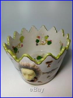 Vintage French Fabienne Jouvin Art Ceramic Planter Fish Lion Heads
