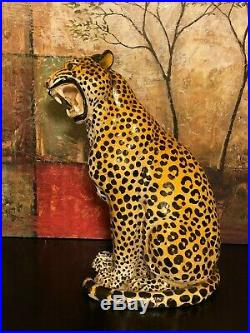 Vintage Hand Painted Made Ceramic Pottery Art Cheetah Statue Figure Italy 22