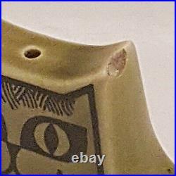 Vintage Hornsea John Clappison Salt Pot Cruet Porcelain Cat Figure Green (B8)