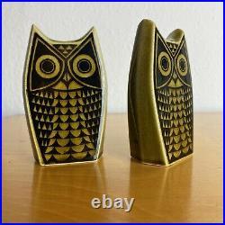 Vintage Hornsea Pottery Owls Cruet Set 1960's John Clappison Design Green