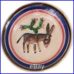 Vintage ICS Italy Art Ceramic Pottery Majolica Donkey Wall Plate Fish Mark