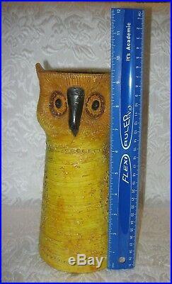 Vintage ITALIAN Ceramic Art 1960s Yellow Owl Candelholder Aldo Londi Bitossi