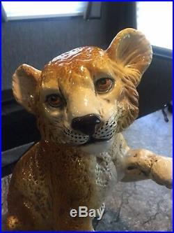 Vintage Italian Ceramic LION CUB large Pottery Italy MCM Art Sculpture