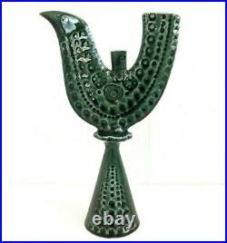 Vintage John Ffrench JFF Bird Green Candle Holder Arklow Studio Pottery Ireland