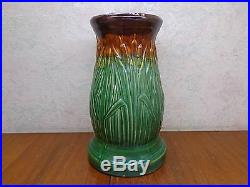 Vintage McCoy Art Pottery Cattail Bullrush #153 USA Jardiniere Pedestal Stand Ex