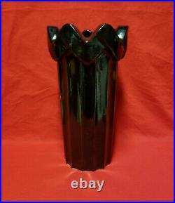 Vintage McCoy Art Pottery Heavy Ceramic Black Umbrella Stand Large Vase 14 Tall