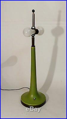 Vintage Mid Century Modern Art Pottery Ceramic Matte Glaze Double Socket Lamp