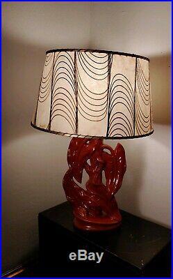 Vintage Mid Century Modern Art Pottery Ceramic Table Lamp Hawaiian Leafs