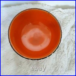 Vintage Mid Century Orange Glaze Chalice Bowl Bitossi Fantoni Raymor Art Pottery