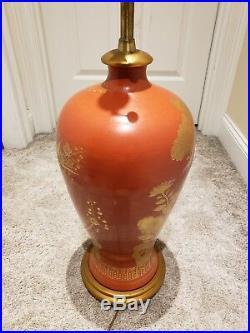 Vintage Mid Century Signed MARBRO Ceramic Art Pottery Urn Ginger Jar Table Lamp