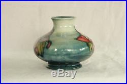 Vintage Moorcroft Art Pottery Columbine Floral Design Cobalt Blue Cabinet Vase