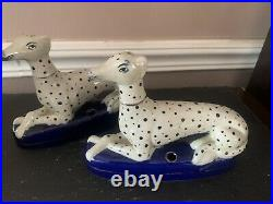 Vintage Pair of Staffordshire Dogs Pen Holders Elegant