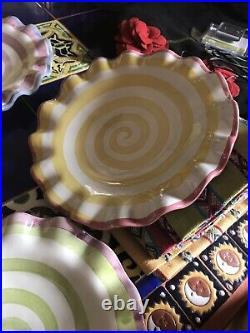 Vintage Rare MacKenzie Childs Ruffled Lollipop Plates Set of Six 9