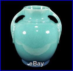 Vintage Roseville Tuscany Ohio Art Deco Pottery Turquoise Lamp Base Vase 345-8