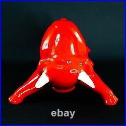 Vintage Royal Haeger Eric Olsen Rare Red & White Glazed Ceramic Bull 15.25 Lg
