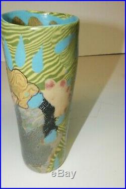Vintage Signed JANE PEISER Artist Painted Pottery Ceramic Art Vase, Mint