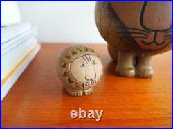 Vintage Signed Pair Lisa Larson Lejon Lion Gustavsberg Large 14 cm & Mini 5 cm