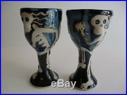 Vintage Signed Pop Art Challice Goblet Cup Pottery Studio Ceramic Skull Bones