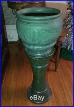 Vintage Weller Arts Crafts Matte Green Art Pottery Griffin Jardiniere & Pedestal