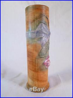 Vintage Weller Woodcraft Flemish Rose in a Ribbon Rustic Floral Art Pottery Vase