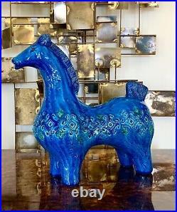 Vintage c1960s Bitossi Italy Horse Aldo Londi Rimini Blue Rare