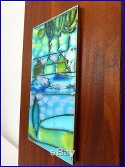 Vtg 4 HARRIS STRONG CERAMIC PAINTED ABSTRACT WALL ART TILES WALNUT MCM Pottery