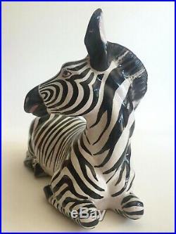 Vtg MID Century Modern Italian Art Pottery Hand Painted Ceramic Zebra Sculpture