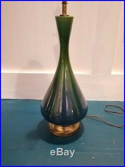 Vtg Mid Century Modern 60's Blue Green Drip Glaze Ceramic Art Pottery Table Lamp