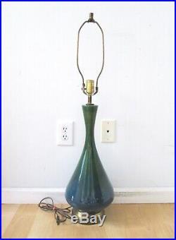Vtg Mid Century Modern 60s Blue Green Drip Glaze Ceramic Art Pottery Table Lamp