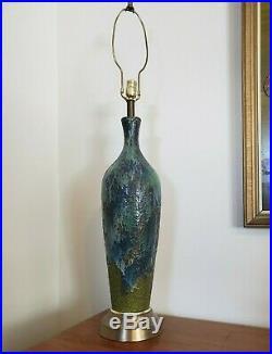 Vtg Mid Century Modern Blue Green Drip Glaze Ceramic Art Pottery Table Lamp 43