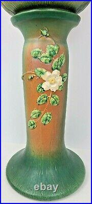 Vtg Roseville Pottery White Rose Brown Green Jardiniere Pedestal Planter 653-10