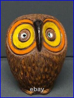 Vtg Sixties Aldo Londi Ceramic Raymor Bitossi Tan Owl Mid Century Modern MCM