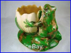 WELLER ART POTTERY COPPERTONE Figural FROG on LOTUS BLOSSOM GORGEOUS