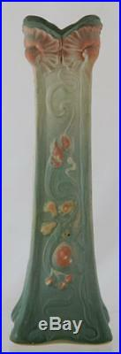 WELLER L'ART NOUVEAU 10.5 VASE WithMAIDEN AND POPPIES ORNATE & GORGEOUS MINT