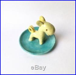 Walter Bosse Ceramic Figurine Dish Horse Pony Dog 1930s Austria Art Deco Bauhaus