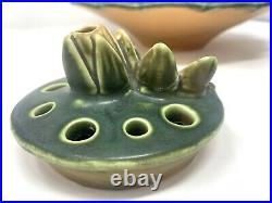 Weller Pottery Pumila Flower Water Lily Console Bowl With Frog 12 3/8