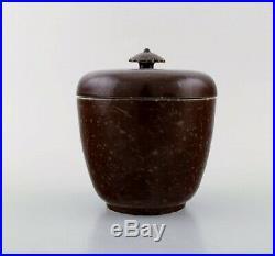 Wilhelm Kåge. Early and rare art deco lidded jar in glazed ceramics